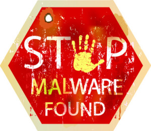 malware / computer virus warning sign, vector